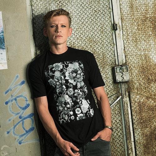 Flowers and Skull Shirt - Mens Skull Shirt - Alternative shirt - Festival shirt