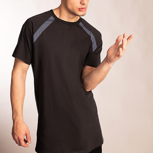 Minimalist raglan sleeve t shirt in charcoal gray with sporty blue accent