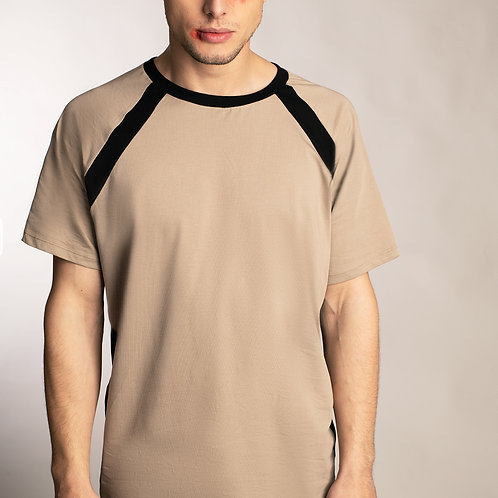 Mens beige minimalist raglan sleeve shirt with sporty charcoal stripes