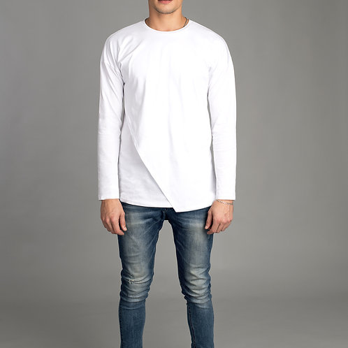Mens Long Sleeve White Shirt - Double layered front - Futuristic Shirt