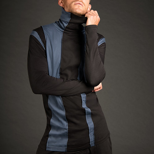 Leaven unique minimalist striped mens turtleneck shirt in blue and gray