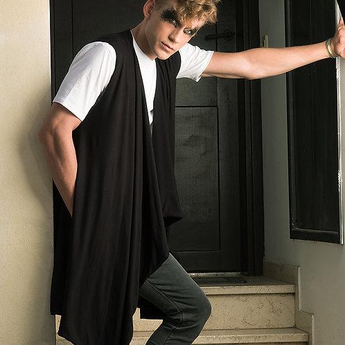 Dark elegant draped long mens vest from soft black bamboo with pockets