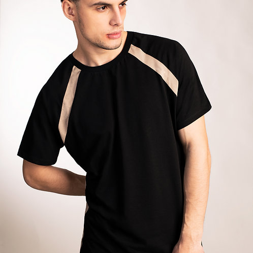 Mens futuristic short raglan sleeve t shirt with sporty beige accent stripes