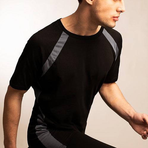 Mens cyber punk black raglan t shirt with blue accent stripe