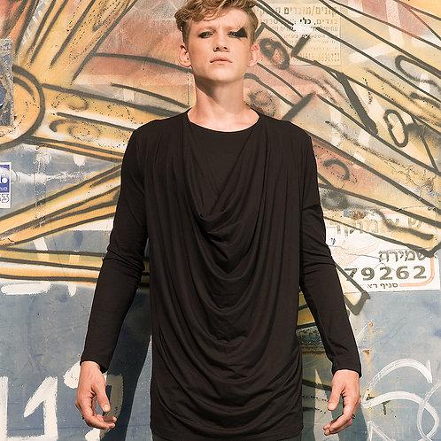 Mens elegant minimalist draped cowl neck fashion shirt