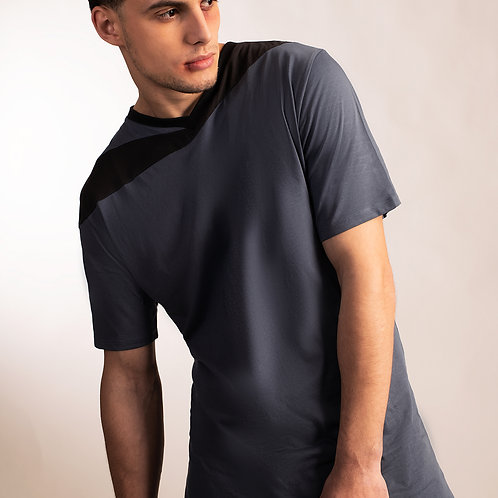 Mens asymmetrical futuristic blue shirt with charcoal gray accent