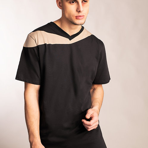 Mens cyber punk charcoal gray shirt with beige slanted accent