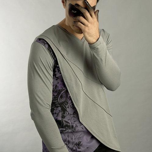 Lunar Shirt - Futuristic Shirt - Mens Grey Cyber Shirt - Mens Layered Shirt