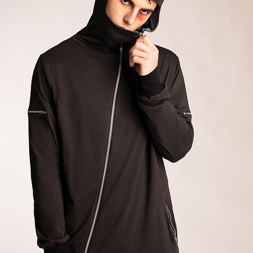 Mens Corona safe asymmetrical zip front hoodie and pockets contrast lining