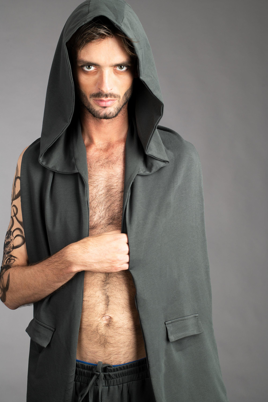 Distressed Cyberpunk Hooded Scarf Urban Streetwear Grey Cowl Hood Menswear Unisex Cybergoth Dark Punk Hooded Scarf Custom to Order