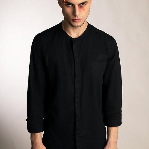 Mens collarless black organic cotton minimalist button down shirt