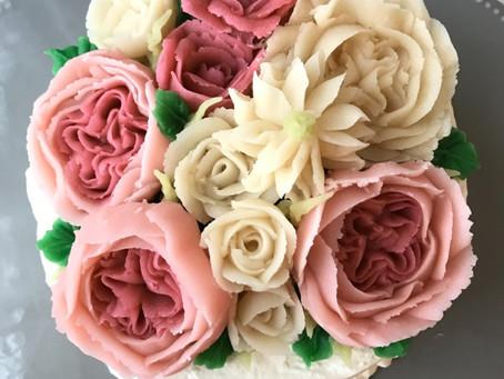 バラのあんフラワーケーキ