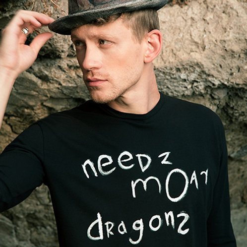 Alternative hand painted Needz Moar Dragonz t shirt - Organic cotton - Cyber