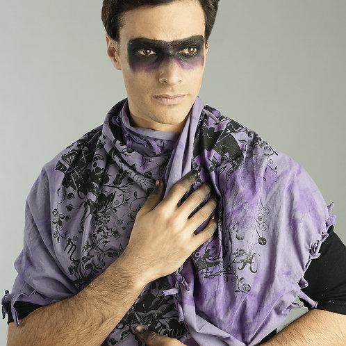 Mens Purple Shawl - Mens Purple Scarf - Organic Cotton Shawl - Alternative