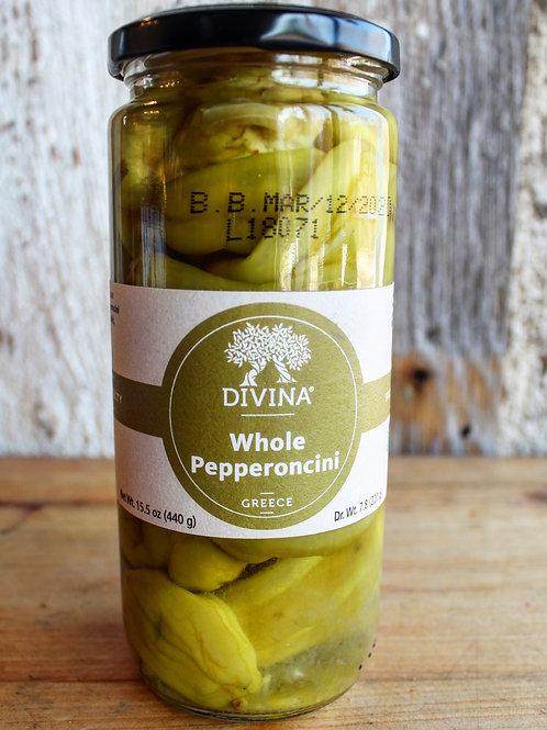 Whole Pepperoncini, Divina, 15.5 oz.