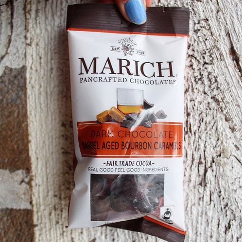 Dark Chocolate Barrel Aged Bourbon Caramels, Marich Chocolate, 2.1 oz.