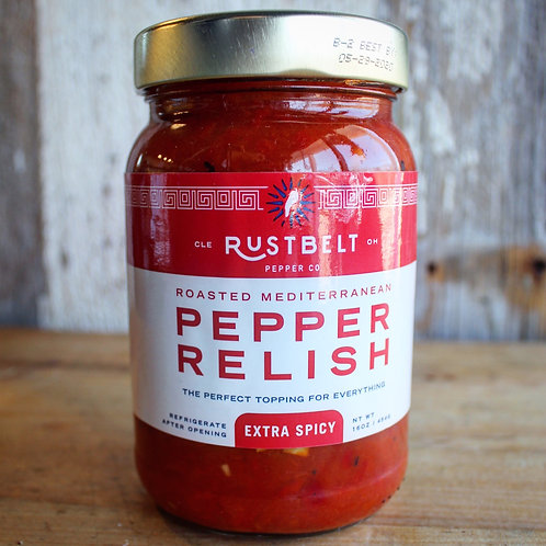 Pepper Relish, Extra Spicy, Rust Belt, 16 oz.