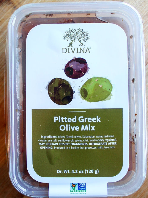 Pitted Greek Olive Mix, Divina, 4.2 oz.