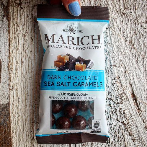 Dark Chocolate Sea Salt Caramels, Marich Chocolates, 2.1 oz.