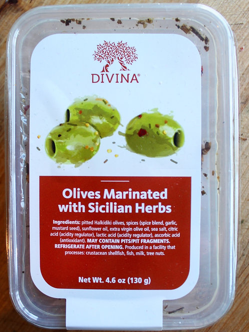 Olives Marinated in Sicilian Herbs, Divina, 4.6 oz.