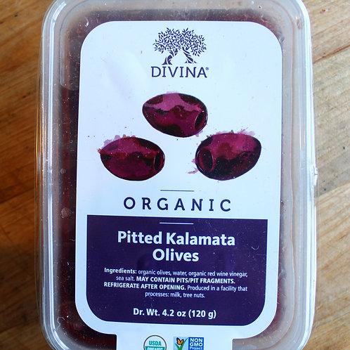 Pitted Kalamata Olives, Divina, 4.2 oz.