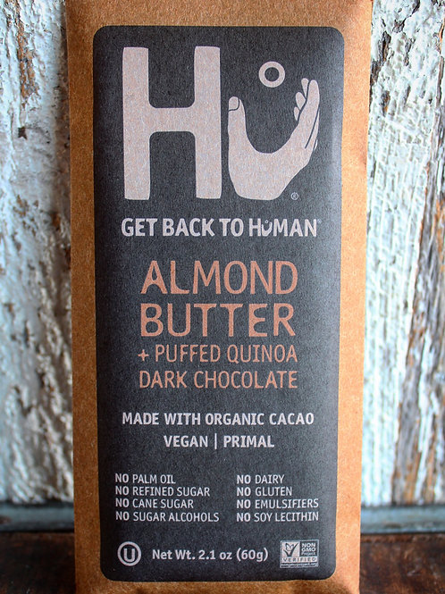 Almond Butter & Puffed Quinoa Dark Chocolate Bar, Hu Kitchen