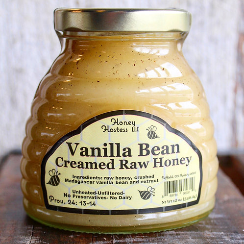 Vanilla Bean Creamed Raw Honey, Honey Hostess, 12 oz.