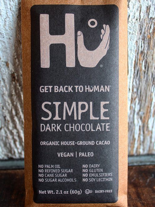 Simple Dark Chocolate Bar, Hu Kitchen