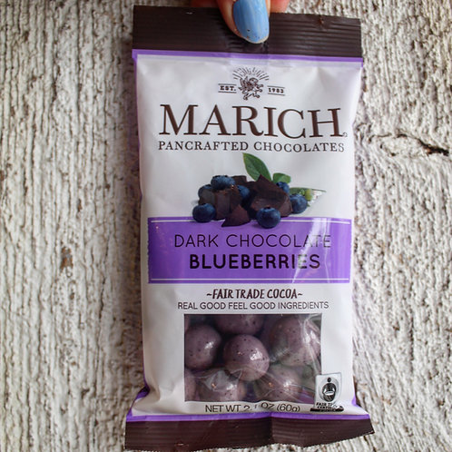 Dark Chocolate Blueberries, Marich Chocolates, 2.1 oz