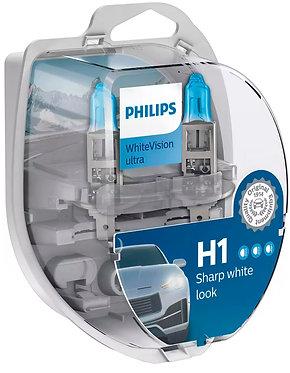Автолампа Philips Н1/W5W 12258 WVU 12V WhiteVision ultra +60% (3700K) (блістер)