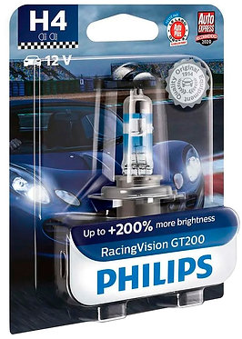 Автолампа Philips H4 12342RGTВ1 RacingVision GT200 +200% 12V 60/55W (P43t-38) В1