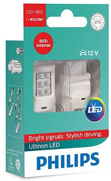 Автолампа вказівна Philips W21/5 LED red 11066 ULR 12V X2
