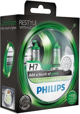Автолампа Philips H7 12972CVPGS2 ColorVision Green 12V 55W (PX26d) (блістер)