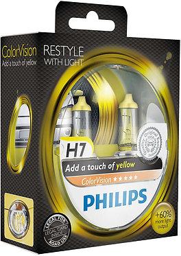 Автолампа Philips H7 12972CVPYS2 ColorVision Yellow 12V 55W (PX26d) (блістер)