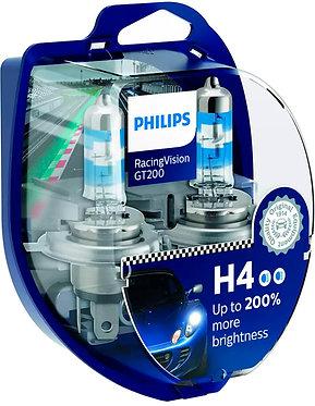 Автолампа Philips H4 12342RGTS2 RacingVision GT200 +200% 12V 60/55W (P43t-38) S2