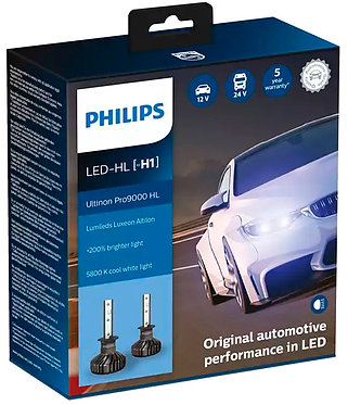 Комплект автоламп Philips LED H1 11258U90CWX2 Ultinon Pro9000 +200% X2
