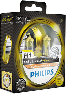 Автолампа Philips 12342 H4 CVPYS2 ColorVisionYellow 12V 60/55W(P43t-38)(блістер)
