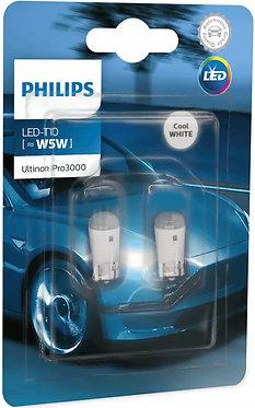 Автолампа вказівна Philips W5W (T10) LED White Ultinon PRO3000 11961 U30CWB2 12V