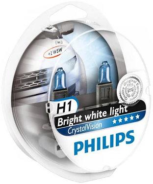 Автолампа Philips Н1/W5W 12258 CV 12V Cristal Vision +2x W5W 4300К SM (блістер)