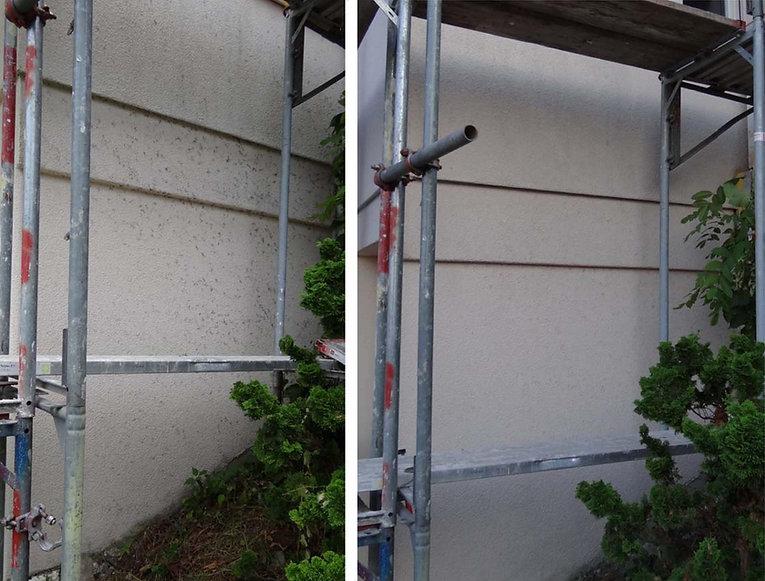 Trockeneisreinigung Fassade mit Efeu voher/nachher