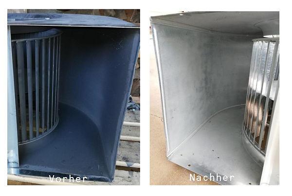 Reinigung Filter mit Trockeneis