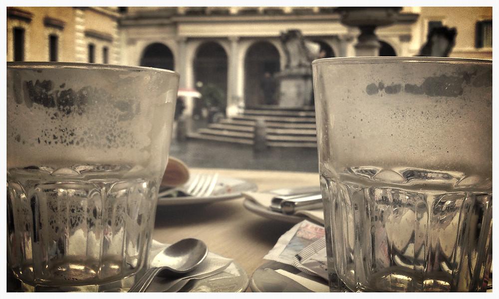 Cappuccion trinken am Campo de Fiori