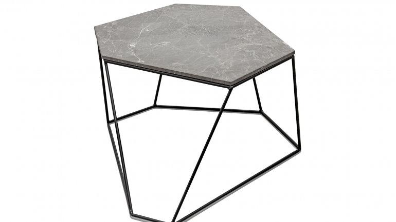 Couchtisch Marmor-Stahl im Trapez Stil