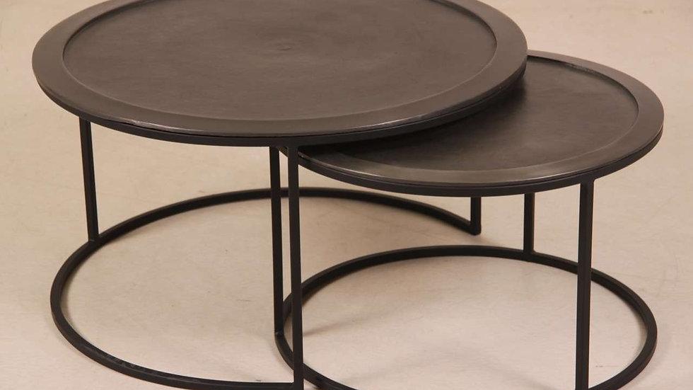 Metall Couchtisch Set im Industriedesign