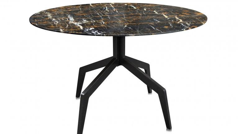 Esstisch rund dunkler Marmor & schwarze Stahlbeine