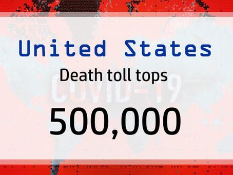 A 'heartbreaking milestone' - 500,000 death toll in USA.