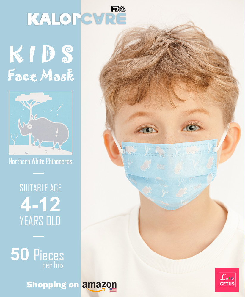 Disposable face mask for kids Rhino pattern