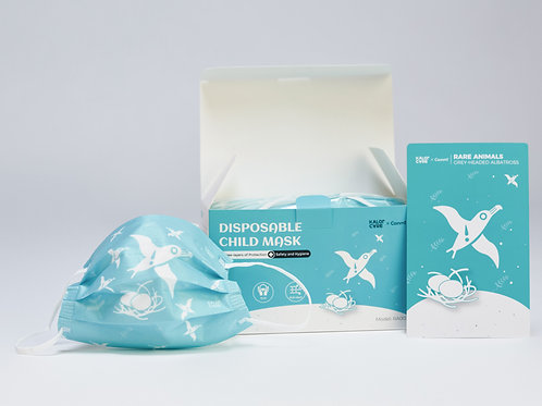 50 PCs Kids Face Mask Disposable - Cartoon Pattern (Grey Headed Albatross Panor)