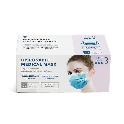 Disposable (ASTM Level 3) Ear Loop Medical Face Mask