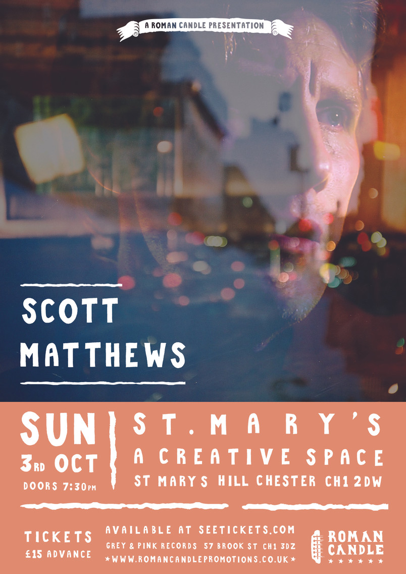 Tomorrow night we welcome Scott Matthews back to St Mary's Creative Space, Chester!